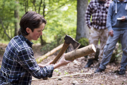 bushcraft instructor with axe