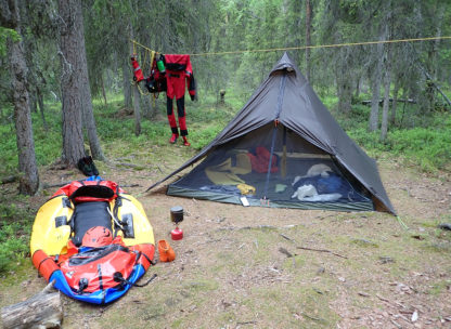Packrafting expedition camp