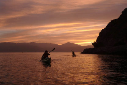 Sea Kayaks in stunning Greek Sunset