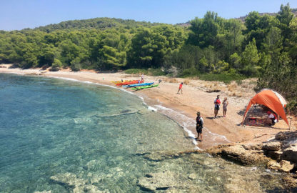 Wild camping on secluded greek beach