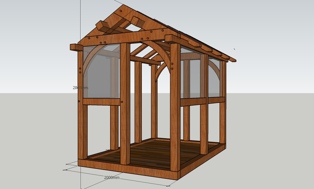 Green Oak Timber Framing Rustic Shavehorse Construction